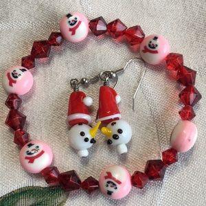 Snowman bracelet & earrings